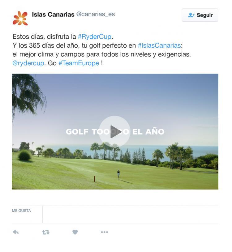 Imagen de uno de los tuits de la campaña de Islas Canarias dirigida a los turistas de golf durante la celebración de la Ryder Cup 2018