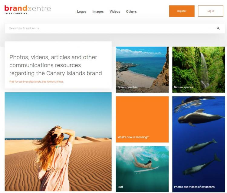 Image of the home page of the new Canary Island Brand Centre