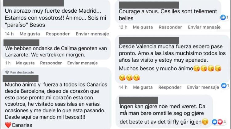 Algunos de los comentarios recibidos en las redes sociales de Islas Canarias
