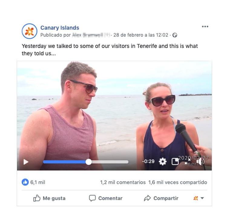 Los perfiles sociales de Islas Canarias difunden vídeos en varios idiomas con testimonios de turistas para desmentir los bulos sobre el coronavirus