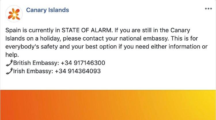Uno de los mensajes publicados en las redes sociales de Islas Canarias que informa sobre el cierre de los establecimientos turísticos