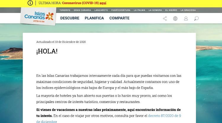 En la web holaislascanarias.com se publica la información actualizada para los turistas en distintos idiomas