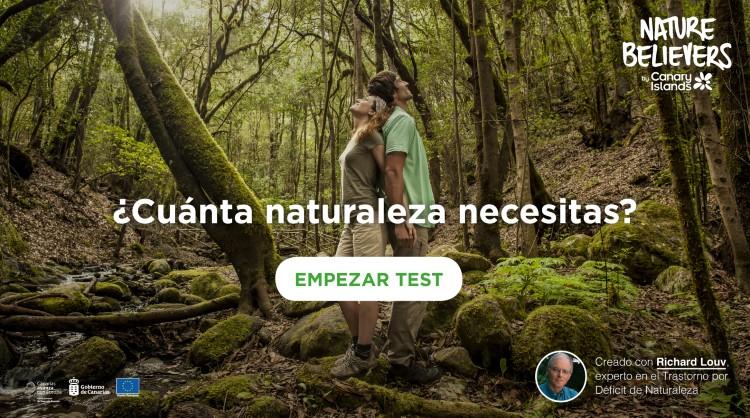 Imagen del microsite de Nature Believers donde se aloja el test que mide el déficit de naturaleza. Islas Canarias