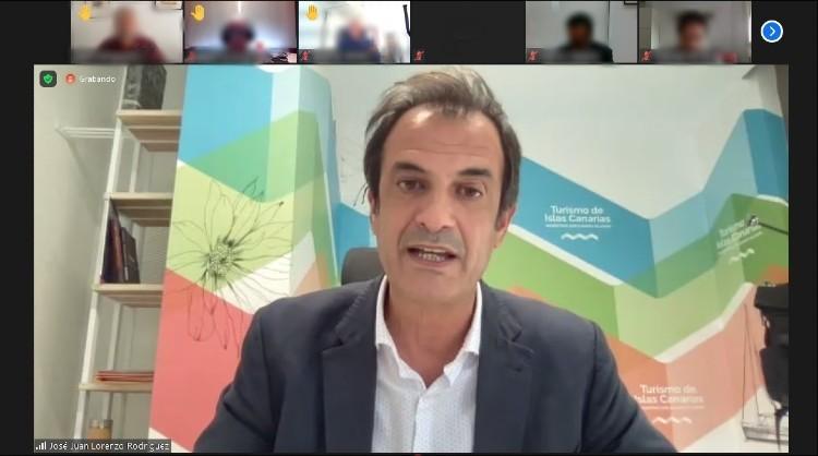 """José Juan Lorenzo, gerente de Turismo de Islas Canarias, durante la presentación de """"Canarias Destino"""" organizada por DIRCOM Canarias"""