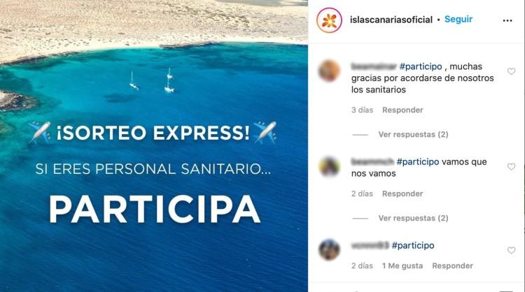 """Algunos de los comentarios del personal sanitario participante en el sorteo de vacaciones en las Islas Canarias en el marco de la campaña """"Entra en fase tranquilidad"""""""