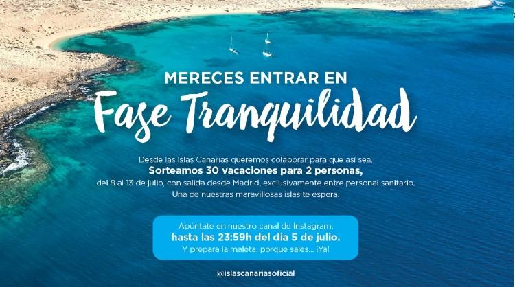 Turismo de Canarias sortea vacaciones en las Islas entre el personal sanitario para que entren en la 'Fase Tranquilidad'