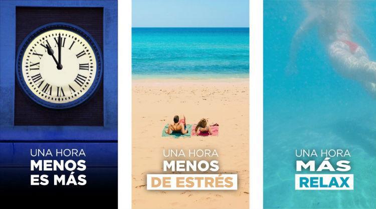 """Imágenes de la campaña """"Una hora menos es más"""", Islas Canarias"""