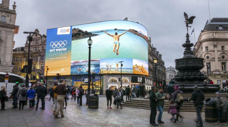 Not Winter Games, one of the campaigns by Canary Islands to have reached the finals of the The Travel Marketing Awards 2019, at Piccadilly Circus in London