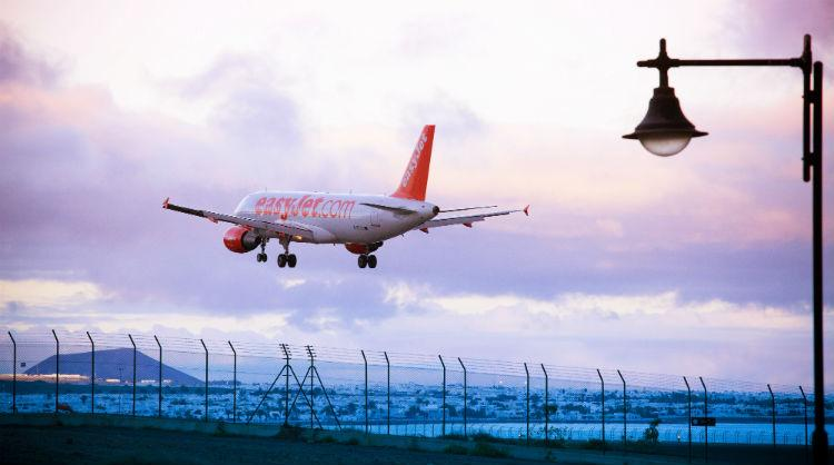 An EasyJet plane landing at the airport of Lanzarote, Canary Islands
