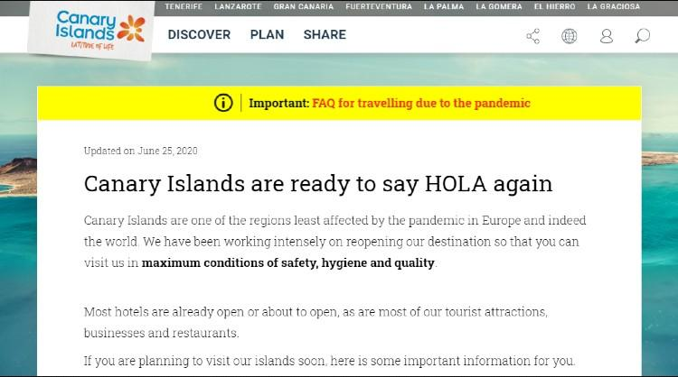 The Canary Islands activate a FAQs section on its website in order to answer tourists' queries
