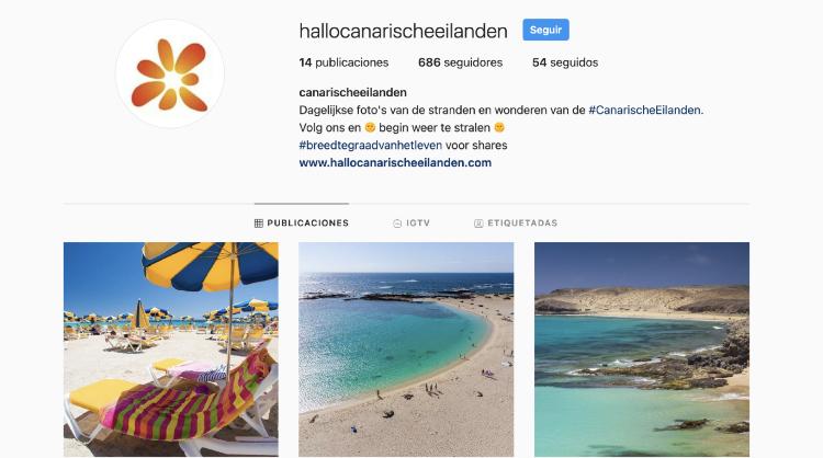 Imagen del perfil en holandés de Islas Canarias en Instagram