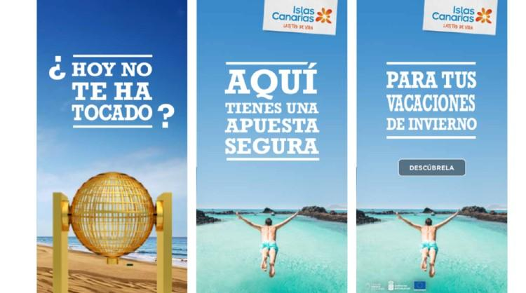 Imagen de la acción de marketing contextual de Islas Canarias coincidiendo con la celebración de la Lotería de Navidad