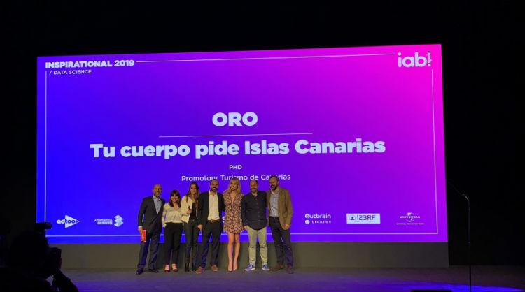 Turismo de Canarias and the PHD agency pick up Gold in the category of Data Science at the 12 annual Inspirational Festival