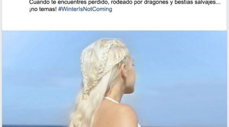 """Una de las publicaciones en Facebook de la campaña """"Winter is NOT coming"""" de Islas Canarias"""