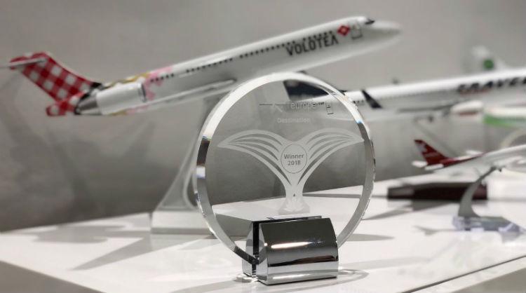 Galardón recibido en Routes Europe 2018 como mejor destino europeo en captación de rutas aéreas, Islas Canarias
