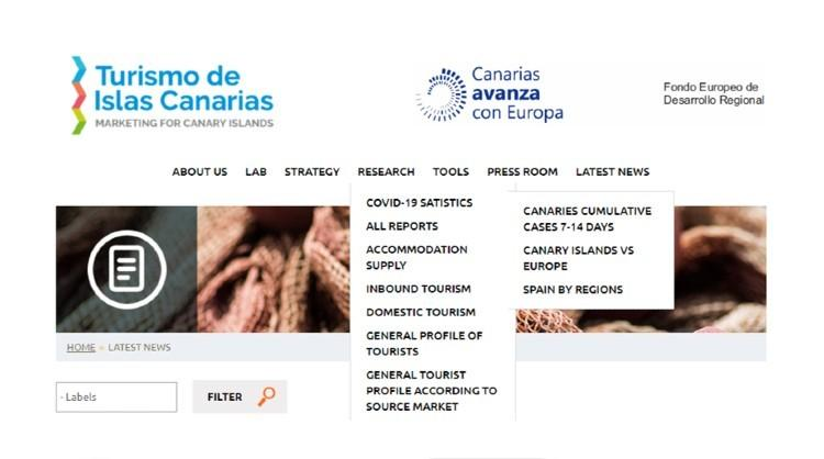 Section of the Turismo de Islas Canarias professional website showing the updated Covid-19 statistics