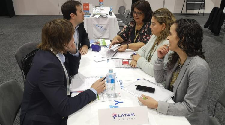 A moment during one of the meetings held between Promotur Turismo de Canarias delegation and one of the airline companies